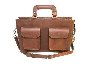 Men's Leather Briefcase - Genuine Cow Leather