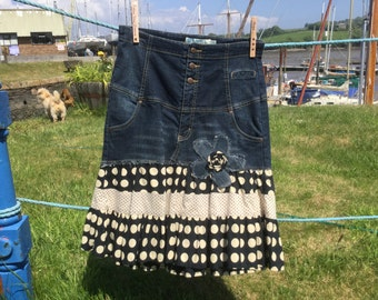 Retro style, Rockabilly inspired refashioned upcycled stretch denim skirt from UK size 12 jeans