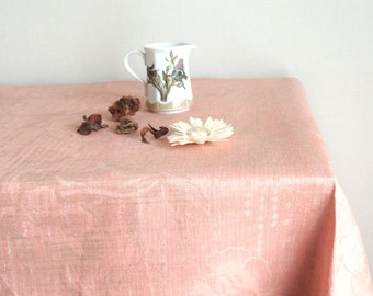 """LINEN TABLECLOTH 90""""x55""""  Pre-washed Poppy Flowers Natural Tablecloth Linen Table cloth Natural Linen Tablecloth Flowers Linen Tablecloths"""