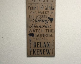FREE SHIPPING! Cabin Rules - Primitive Signs - Primitive Wall Decor - Wood Signs - Cabin Signs