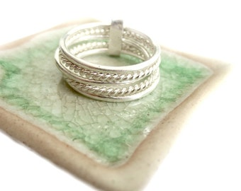 Handmade 5 Varied Sterling Silver Bundled Stacking Rings Set, Dainty Thin Silver Interlocking Stack Ring, 2 Twisted rings and 3 Plain Sings