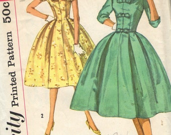 Vintage 1950s Simplicity Sewing Pattern 2763- Misses' Dress size 11 bust 31 1/2
