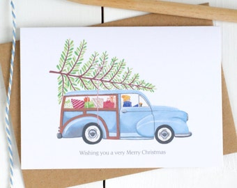 Personalised Car Christmas Card - Personalised Christmas Card - Morris Minor Card - Christmas Card for Dad - Personalised Christmas Cards