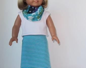 American Girl Doll: Aqua and White Striped Skirt