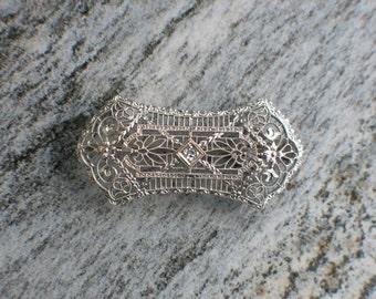 Antique Platinum Edwardian Diamond Convertible Pin Pendant Brooch
