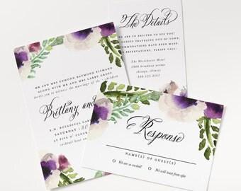 SALE Purple Wedding Invitation, Printable Wedding Invitation Set, Rustic Floral Wedding Invitation, Vintage Floral, We Design + You Print