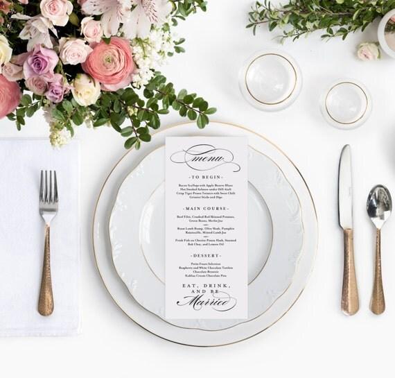 Wedding Food Menu Samples: Elegant Printable Wedding Menu Template 4x9 By