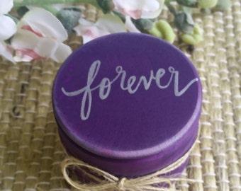 Wedding Ring Box, Ring Bearer Box, Ring Bearer Pillow Box with Burlap, Forever, Rustic Ring Box, Vintage Wedding, Purple Wedding
