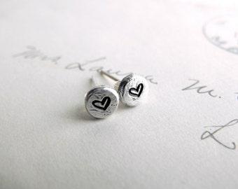 Silver Heart Earrings Small Silver Heart Stud Earrings Personalized Earrings