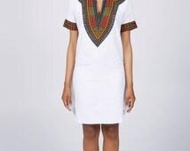Pencil Dress, Angelina Print Dress, Dashiki Dress, Short Summer Dress, White Dress, African Print Dress, Ankara Dress, Cotton Dress