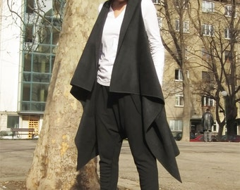 Wool Top, Warm Vest, Sleeveless Coat, Top with Pockets, Fashion Scarf, Asymmetric Vest, Jacket Vest, Long Top by CARAMELfs P7015