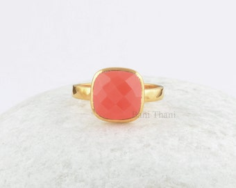 Coral Chalcedony Cushion Cut 10mm Ring,  Coral Chalcedony Gemstone Ring  Gold Plated 925 Sterling Silver Ring Jewelry - #SB-50015