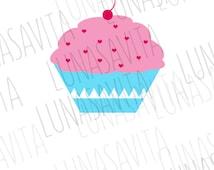 Cupcake SVG, Valentines SVG, Wedding svg, Cricut designs, silhouette designs, dxf, jpg, png