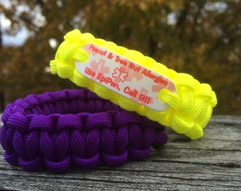 Peanut & Tree Nut Allergy Alert Bracelet any stock color Paracord Medical ID bracelet for kids or adults ~