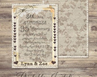 Wood and Lace, Surprise Anniversary Invitation, Anniversary Invitations, Wedding Anniversary Invitations, Burlap, lace, rustic, invitation