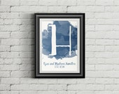 Customizable Watercolor Initial Monogram with Family Name and Established Date Wall Art