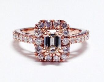1.50CT Diamond Emerald Cut Halo Engagement Ring Anniversary Band Wedding Bands Rings Diamonds Platinum, 18K, 14K White, Yellow, Rose Gold