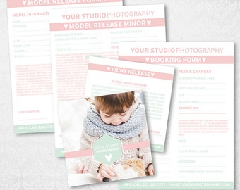 Photography Form Release Templates  - Studio Package - Business Form - Client Booking Form - Photoshop Templates - BUN003 - instant download