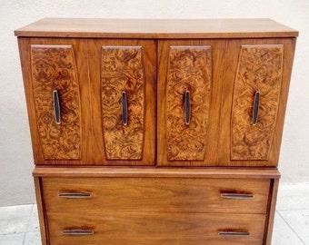 Mid Century Modern Dark Walnut Hiboy Dresser with Burled Inlays, Danish Modern Chest of Drawers, Mid Century Armoire, Walnut Burl Furniture