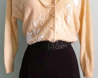 Vintage Vic & Vic Haute Couture Beaded Wool Cardigan Sweater
