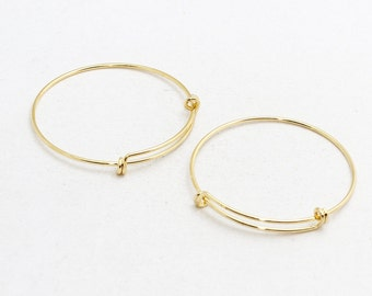 1 Pcs Gold Plated Memory Wire Bracelet , Expandable Bangle  , Bangle Bracelet, Adjustable Bracelet Wire , 1,6x60mm , CHK62