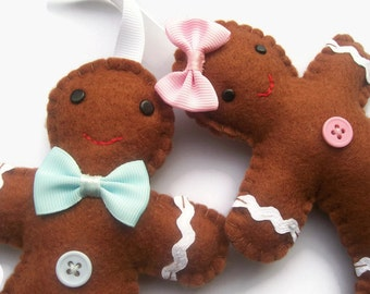 Felt Gingerbread Man Ornaments x 2, Christmas Tree Decorations, Christmas Gingerbread, Felt Christmas Ornaments