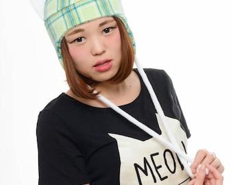 Green Plaid Cat Hat - Fleece Kitty Cat Hat - Cat Aviator Hat - Green Plaid Fleece Hat - Cat Earflap Hat - Cat Ear Anime - Manga Cat Hat