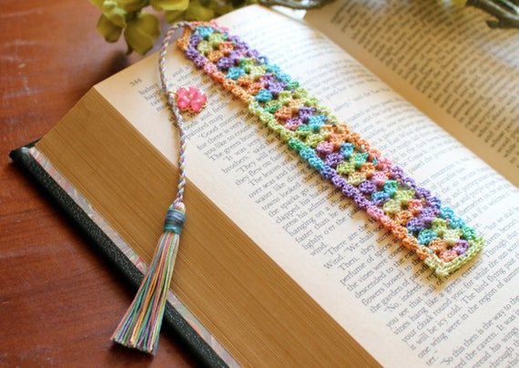 Crochet Bookmark Flower Charm On The Tassel Spring