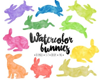 Watercolor Bunny Clip Art. Easter Bunny Silhouettes. Hand Painted Spring Bunny. Invitation, Scrapbook Rabbit, Woodland Clipart
