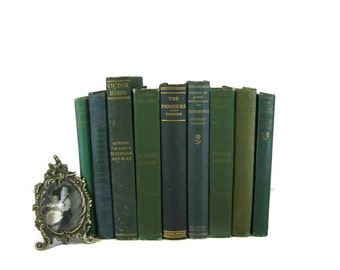 Green book decor , vintage books and antique books ,  green wedding decor ,  book bundle, library decor ,  vintage book decor