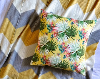 Palm Leaf Cushion Cover, Throw Pillow Cover, Throw Cushion Cover, Decorative Cushion Cover, Decorative Pillow Cover - Tropical Yellow