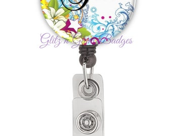 Beautiful Flower Personalized Badge Reel, Retractable Badge Holder, Monogram Badge Reels, Doctor Badge Reels, Nurse Badge Reels - GG2144