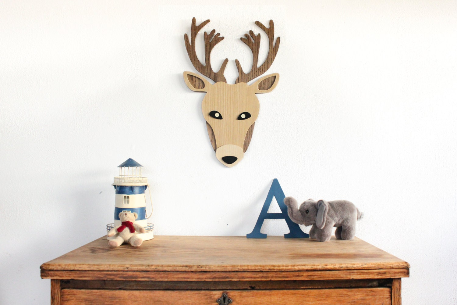 Wooden deer head wall art nursery wall art kids room decor for Animal head wall decoration
