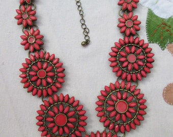 Coral Pink Beaded Statement Bib Necklace