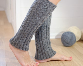 Cable knit wool leg warmers Gray - hand knit leg warmers natural merino wool - Winter gift