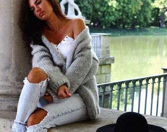 Oversized Cardigan, Chunky Knit Cardigan, Grey Cardigan, Oversized Sweater, Cozy Sweater, Fluffy Cardigan,