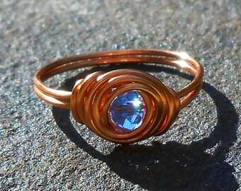 Celtic Swirl Birthstone Ring In Copper, February Birthstone Ring,