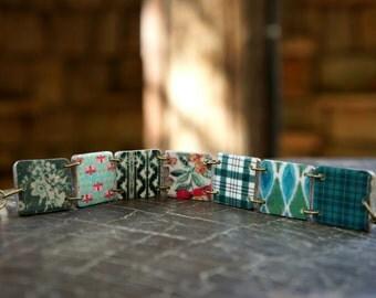 Tree bracelet, Forest jewelry, Woodland jewelry, Nature bracelet, Dark green bracelet, Mint green bracelet, Nature jewelry, Plaid bracelet