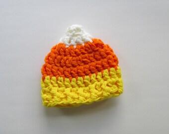 Chunky Candy Corn hat~ Preemie, Newborn, 3-6 mos, 6-12 mos, 1-4 years.Halloween Beanie~Crochet~costume/baby photography prop