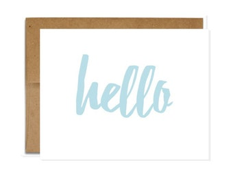 Hello Card - Hello - Blank Card - Greeting Card - Just because- Hi - Hello - Thinking of you - Miss You