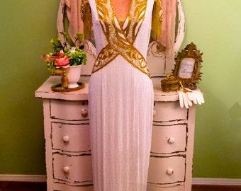 Long Beaded Formal Gown, Stephen Yearick, White Gold Fringe Dress, Full Length Evening Gown, Formal Wedding, Designer Gown, Red Carpet Dress