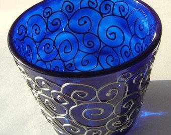 Blue Glass Tealight Holder With Silver Swirls