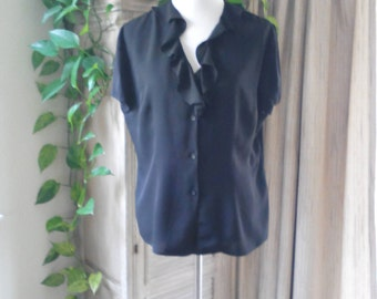Vintage Black Silk Blouse with Ruffle Neckline, Size M by Nygard, Designer Blouse, Career Wear, Professional Attire, Business Attire