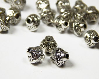 25 Pcs - 7x6mm Metal Bicone Spacer Beads - UFO Beads - Tibetan Silver - Spacer Beads - Jewelry Supplies
