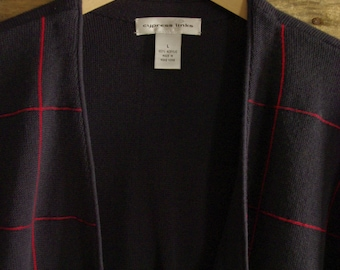 Vintage Golf-Dad-Grampa-Boyfriend Cardigan By Cypress Links Men's L Navy & Red Acrylic Made in Hong Kong FREE US Standard Shipping