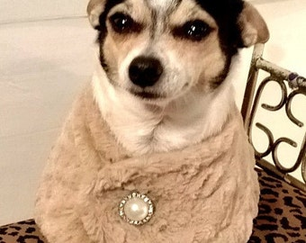 Handmade Faux Fur Dog Cape for Small Dogs