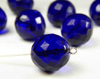 2 Pcs - 18mm Faceted Round Cobalt Blue Czech Glass Bead - Focal Bead - Crystal Bead - Spacer Bead - Jewelry Supplies