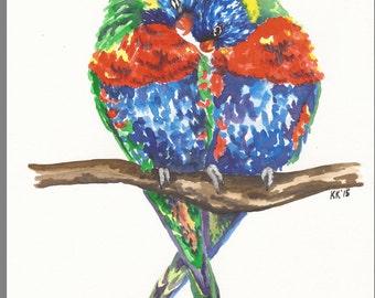 Lovebirds - Original Watercolor - 8.5 x 11.5