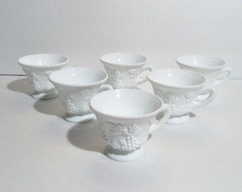 Vintage White Milk Glass Indiana Colony Grape Harvest Punch Tea Cup