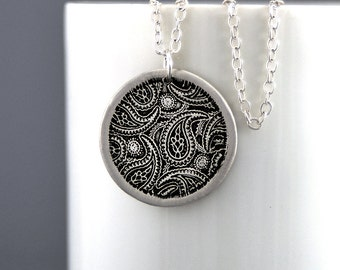 Paisley Necklace Silver Pendant Necklace Paisley Jewelry Sterling Silver Bohemian Charm Jewelry Paisley Pendant Gift for Her